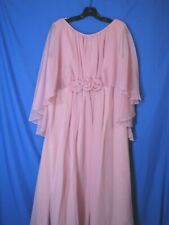 MAUVE PINK Vintage PROM PARTY DRESS Chiffon Overlay DRAG QUEEN Nice & Roomy L/XL