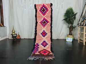 "Moroccan Vintage Handmade Runner Rug 2'x7'7"" Pink Black Geometric Berber Carpet"