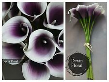 27 Natural Touch Plum Purple Picasso Calla Lily Silk Bridal Wedding Bouquets