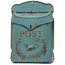Aged BLUE & RUST Vintage Style Metal Mailbox / Primitive Farmhouse / Repro