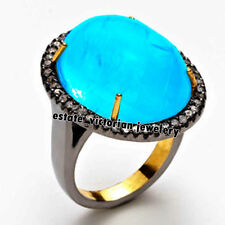 Estate Victorian 0.98Cts Rose Cut Diamond Turquoise Studded Jewelry Silver Ring