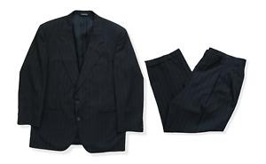 Vintage Burberry Mens Designer Wool Black Pinstripe Full Suit 2 Piece Short