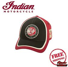 GENUINE INDIAN MOTORCYCLE CIRCLE PATCH HAT W/ BUCKLE RED BLACK NEW SCOUT CHIEF