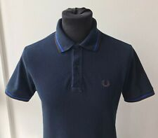 """Fred Perry Twin Tipped Made In Italy Polo Shirt Navy Blue Brown Size 38"""" Small"""