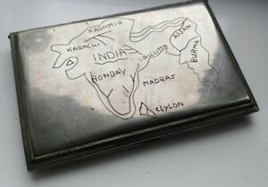 Vintage British Indian Era Cigarette Case with Map of Sub Continent Military