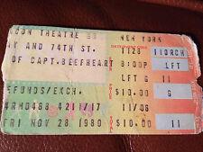 RARE CAPTAIN BEEFHEART TICKET STUB Beacon Theater 1980 Don Van Vliet Frank Zappa