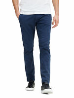 JACK & JONES Marco Enzo Chino Slim Cotton Stretch Trousers Navy Blue Chino Pants