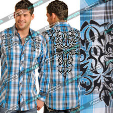 NWT MENS Panhandle Button down shirt Novelty Plaid with Embroidery 90 Proof
