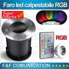 FARETTO LED CALPESTABILE STRADALE GIARDINO RGB MULTICOLOR INTERRATO VETRO NEW