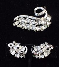 Vtg 1953 Signed TRIFARI Crown Pat#169,207 Rhinestones Set Brooch Clip-On Earring