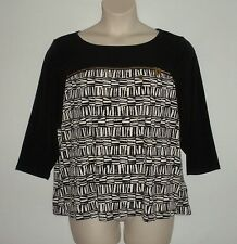 NWT MSRP $79.50  CALVIN KLEIN Abstract Print Jersey Knit Zip Top, Black, PLUS 1X