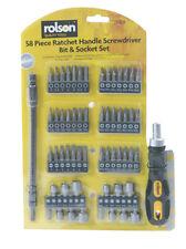 Rolson 28428 Screwdriver Bits With Ratchet Handle 58 Pcs Hand Mechanics Tools