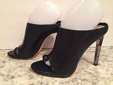 BCBG Max Azria Dag Sandals Heel Leather Open Toe Black 8.5 M / 38.5 $275