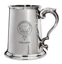 Pollock Family Crest Polished Pewter 1 Pint Tankard with Scroll handle