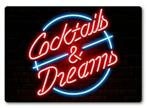 Cocktails & Dreams Bar Sign METAL Plaque Eighties Neon Style Cruise Movie Club
