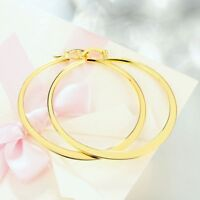 18K Yellow Gold Filled 2inch Large Round High Polished Flat Hoop Earrings ITALY