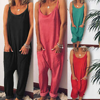 Womens Jumpsuit Romper Sleeveless Summer Casual Beach Baggy Harem Pants Playsuit