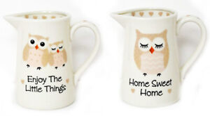 Cute Ceramic Owl Jug with Sweet Message Choose One or the Set- Gift or your Home
