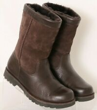 Ugg 3296 Riverton Brown Leather Sheepskin Pull-On Winter Youth Girls US 4