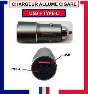 ALLUME CIGARE USB + TYPE-C / CHARGEUR RAPIDE 5 AMPERE / 22,5 WATT POUR VOITURE