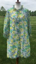 Lounge Craft Vtg 1960's Green Yellow Floral Nightgown House Coat MCM Medium E