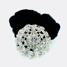 USA Ponytail holder Elastic Rhinestone Crystal Hair Tight Tie Rope Silver 01-2