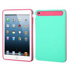 Apple iPad Mini Hybrid Back Cover Skin Case Card Wallet Pastel Green Orange