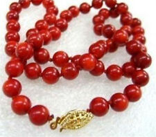 "Natural  Red Sea Real Coral Round Beads Necklace 18"" 8mm"
