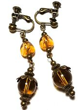 Long Amber Yellow Clip-On Earrings Antique Bronze Style Dangle Boho Hippy Clips