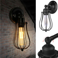 Vintage Industrial Style Wall Mount Light Sconce Lamp Wire Metal Cage Fixture