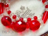 VINTAGE ART DECO RUBY RED MOULDED TORPEDO GLASS CLEAR CUT CRYSTAL BEAD NECKLACE