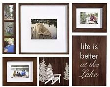 Photo Frame Lodge 6-piece Box Set, Brown, Lake Vacation Home Decor