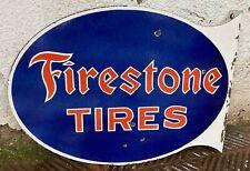 """Vintage """"Firestone Tires"""" Porcelain Enamel Double-Sided Sign Flange 21.5""""x16""""x2"""""""