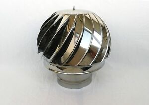 5.2''/130mm CHIMNEY SPINNER COWL Stainless Steel Rotating Wind Spinning Vent Cap