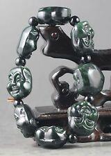 China natural jade bracelet hand carved jade buddha stretchy bangle