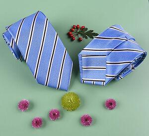 Light Blue Business Striped Skinny 3 Tie Luxury Designer Fashion College Necktie