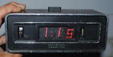 Vtg General Electric Roll Flip Alarm Clock Lighted Dial GE 492E Black w/ SNOOZE