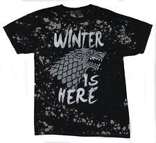 Game of Thrones Mens T-Shirt - Winter is Here Snow Splat Stark Head