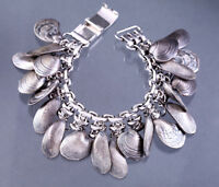 NAPIER Seashell Charm Bracelet Vintage 1960s Signed Clam Shell Mermaid Jewelry