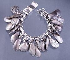 NAPIER Seashell Charm Bracelet Vintage 1960s Signed Clam Shell Mermaid Jewelry