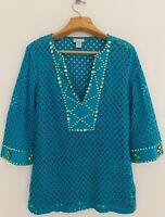 SOFT SURROUNDINGS Women Tunic Top Sz L Blue V-Neck Green Rhinestones Eyelets