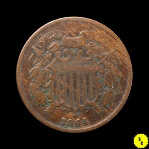 1864 Large Motto Two Cent Piece, VF Condition, Wood Grain Look, First Year #31