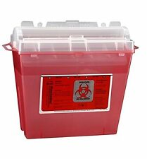 TYCO HEALTHCARE KENDALL RED SINGLE USE 5 QUART SHARPS CONTAINER W/ LID 8507SA