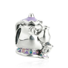 authentic Sterling Silver Mixed Enamel Disney Mrs. Potts&Chip Charm Bead Cartoon