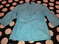 E-COL-O-GIE Blueish Green Linen Short Sleeve Blouse Shirt Top size Small