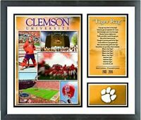 """Clemson Tigers Football Custom Matted Photo Collage (Size 12.5"""" x 15.5"""") Framed"""