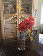 Silk Orchid Arrangement In Glass Vase