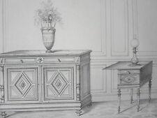 LOUIS XVI Commode Table nuit  Lit GRAVURE le MAGASIN de MEUBLES V. QUETIN XIXéme