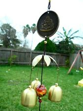 Feng Shui Chinese Lucky Coin Metal Brass Bell Wind Chime Harmony Happy Buddha