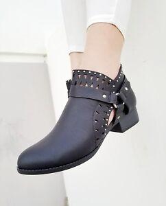 Ladies Black Ankle Dress Boots Toe Faux Quality Leather Bootie Size 5-11 Shoes